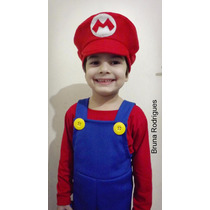 Fantasia Super Mario Bros Infantil Completa Malha Verão