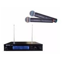 Microfone S/fio Barato Duplo Uhf Profissional Padrão Shure