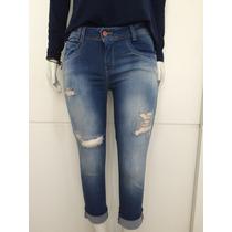 Calça Feminina Jeans Skinny Lycra Rasgada Desfiada Blogueira