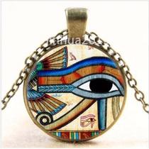 Colar Místico Olho De Horus Yoga Reiki Bronze