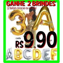 Balão Metalizado Numeros Letras Grande Dourado Prata 72 75cm