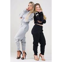 Conjunto De Moletom Despojado Calça E Blusa Ombro Trançado!