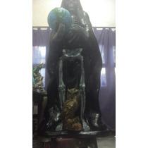 Imagen Religiosa De San La Muerte 1mt Con Mundo Y Buho
