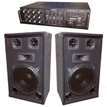 Combo De Sonido Amplificador Mixer Usb + 2 Bafles De 10 Okm