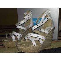 Zapato Sandalia Taco Chino Nº 39 Cuero Fragola * Ferli