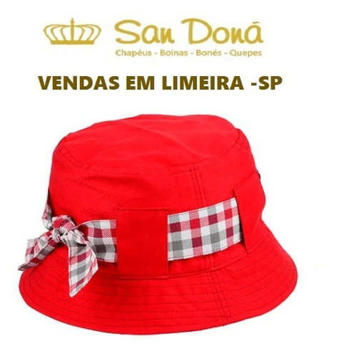 Chapéu Debora Tecido Vermelho Xadrez 54 A 61 Aba 5 San Dona - R  85 ... 0426b825371