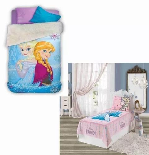 77549e792a Kit 4 Pç Coberdrom + Jogo Cama 3pçs Infantil Frozen Disney - R  340 ...