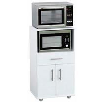 Mueble Rack De Cocina Porta Microondas Y Grill Blanco Oferta