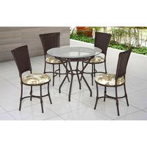 Mesa +4 Cadeiras Revestida Em Fibra Sintética C/ Nota Fiscal