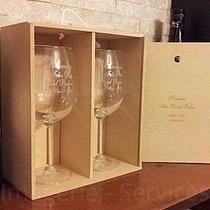 Caja Con 2 Copones De Vino Cristal Premium Tu Grabado Laser