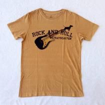 Camiseta T-shirt Doc Dog Estampa Rock And Roll - Bege/cinza