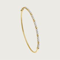 Bracelete Bolinha Em Ouro 18k (750) Com Diamantes