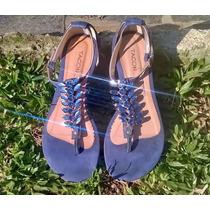 Sandália Rasteirinha Com Pedrarias E Camurça Azul Lindíssima