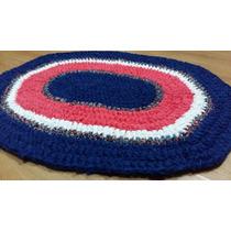 Alfombra Ovalada Tejida Al Crochet Con Totora Tela
