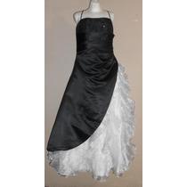 Moderno Vestido Fiesta Largo Negro Y Blanco, 14-16 Americana