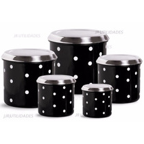 Condimento Potes Mantimento Conjunto Aluminio Preto Poá