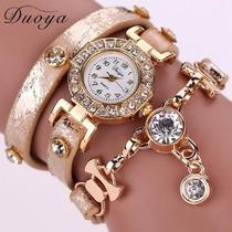 Relógio Feminino Pulseiras Couro Com Pingente Vintage Import