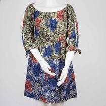 Vestido Feminio Estampa Floral E Geométrica Tecido Leve