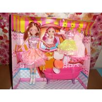 Muñeca Barbie Y Kelly Fantasy Bathroo Con Baño Y Accesorios