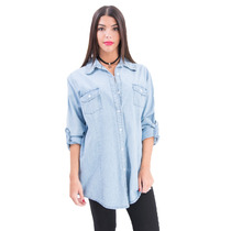 Camisa De Jean Larga Celeste 8 Talles Axioma