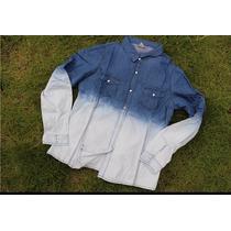 Camisa Camisão Jeans Degrade Feminina Manga Longa