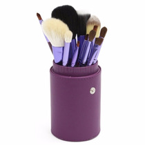 Kit Com 12 Pincéis De Maquiagem + Case Roxo