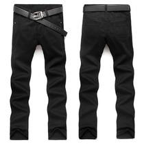 Calça Jeans Masculina Preta Sarja 36 A 46 Frete Gratis