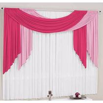 Cortina Para Sala Pink Rosa Branca 3mx2,5m P/ Varão Duplo