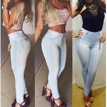 Calça Jeans Cintura Alta Hot Pants Levanta Bumbum Veste Bem