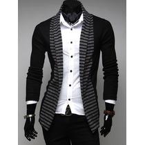 Suéter Hombre Casual Largo Slim Fit Moda Sin Botones Cómodo