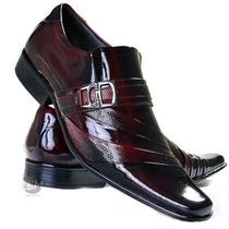 Sapato Social De Verniz Vinho Luxo! 100% Couro - Promoção