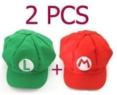 f418687bb2d81 Kit 2 Bonés Boinas Super Mario Bros Nintendo Mario E Luigi - R  120 ...