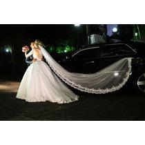 Véu Mantilha De Noiva/bordada No Tule /branco E Off White