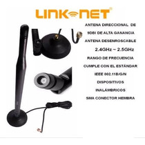 Antena 9 Dbi Link Net Para Router Wifi Negra Gtia 3 Meses.