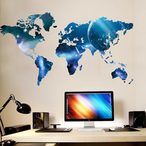 Adesivo Decorativo De Parede Mapa Do Mundo Trabalhado Azul