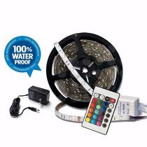 Tira Led Rgb 5m 300 Led Impermeable Control Y Eliminador