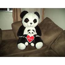 Urso Panda Grande Com Panda Pequeno Carinhoso Pronta Entrega