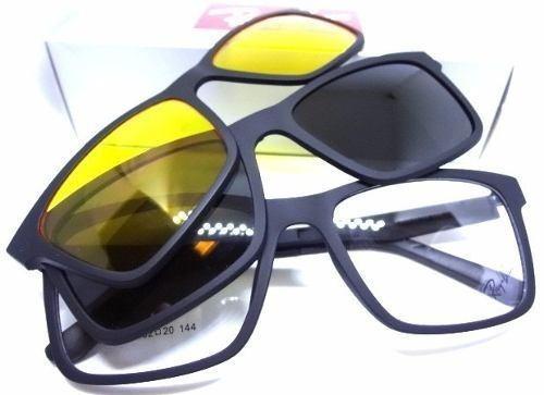 bdb546ca6cc41 Armação Oculos Grau Sol Masculino Rb2088 2 Clip On Promoção - R  119 ...
