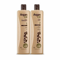 Kit Escova Progressiva Vip Argan Oil 2x1 Litro +brinde