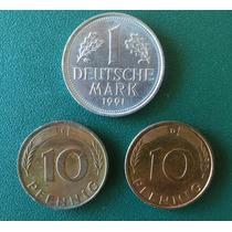 Moedas Alemãs 1 Marco E 10 Pfennig (2) Kit Com 3 Moedas