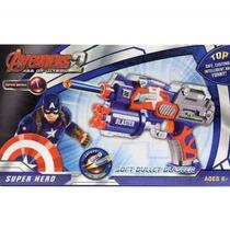 Arma Pistola Lançador Dardos Nerf Ventosa Capitão América
