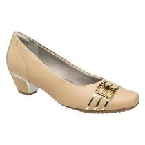 Sapato Feminino Piccadilly Com Salto Baixo Bege Original