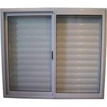 Ventana Aluminio 150x110 Vidrio Entero + Postigo Celosia
