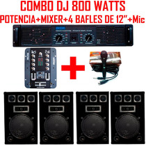 Combo Dj Completo 800 Watts Potencia +mixer+ 4 Bafles 12+mic