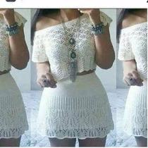 Conjunto Feminino Blusa Cropped + Saia Blogueira