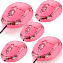 Kit 05 Mouse Óptico Classic 800dpi Rosa Usb Multilaser Mo181