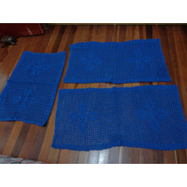 Tapete Em Barbante Crochê Azul (jogo 3 Peças)