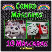Máscaras Goma Eva Pack X 10u. - Con Relieve