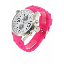 Relogio Importado Feminino Colorido Silicone Pink Rosa