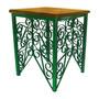Banco De Ferro Artesanal Decorativo Madeira Rustica Verde